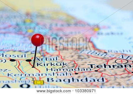 Kirkuk pinned on a map of Asia