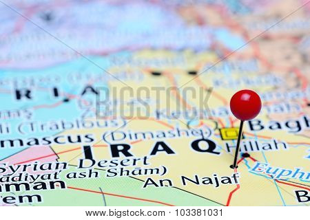 An Najaf pinned on a map of Asia