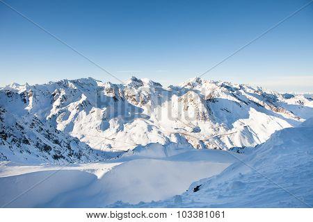 Snow Covered Mountain Range