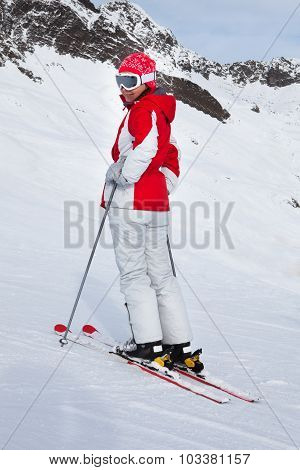 Female Skiing At Ski Resort