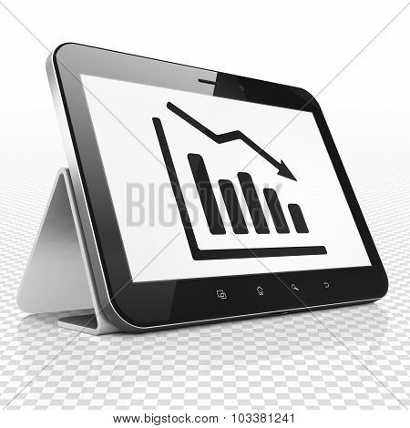 Finance concept: Tablet Computer with Decline Graph on display