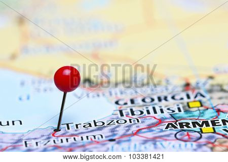 Trabzon pinned on a map of Asia