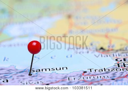 Samsun pinned on a map of Asia