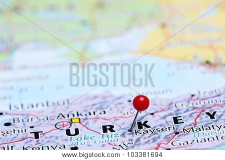 Kayseri pinned on a map of Asia