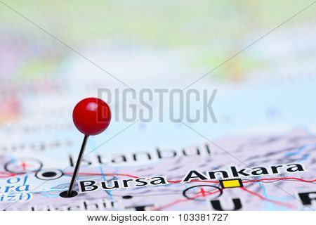 Bursa pinned on a map of Asia