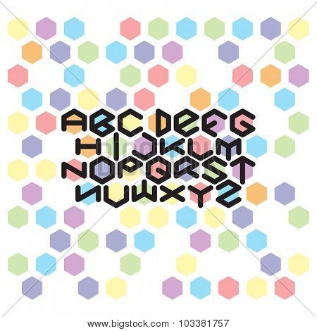Hexagon Font set. Abstract color hexagons and fat round line font