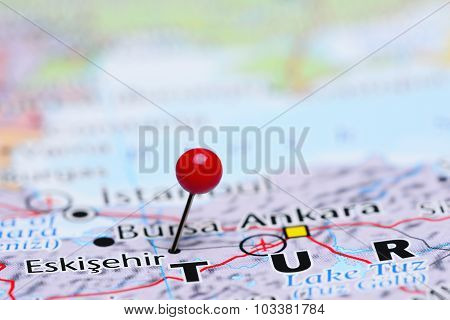 Eskisehir pinned on a map of Asia