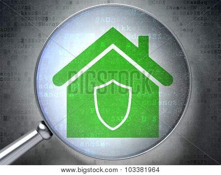 Finance concept: Home with optical glass on digital background
