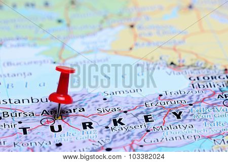 Ankara pinned on a map of Asia