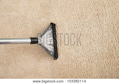 Vacuum Cleaner Over Carpet With Foam