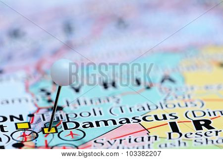 Damascus pinned on a map of Asia