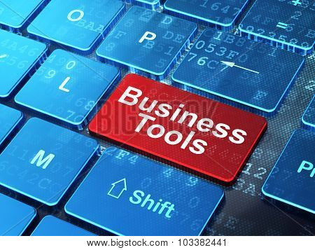 Business concept: Business Tools on computer keyboard background
