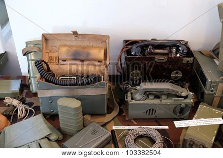 PAKRAC, CROATIA - MAY 07: The collection of weapons and equipment used during the war for Croatian independence, Pakrac, Slavonia, Croatia on May 07, 2015