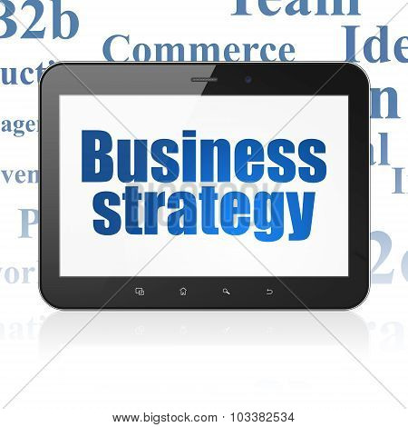 Business concept: Tablet Computer with Business Strategy on display