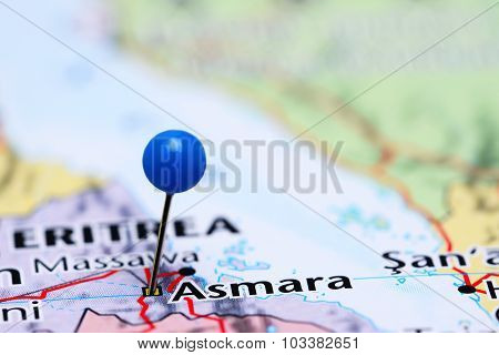 Asmara pinned on a map of Asia