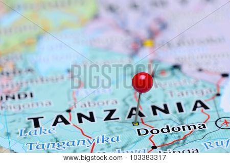 Dodoma pinned on a map of Asia