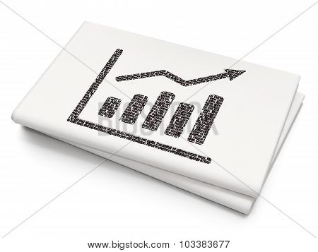 Advertising concept: Growth Graph on Blank Newspaper background