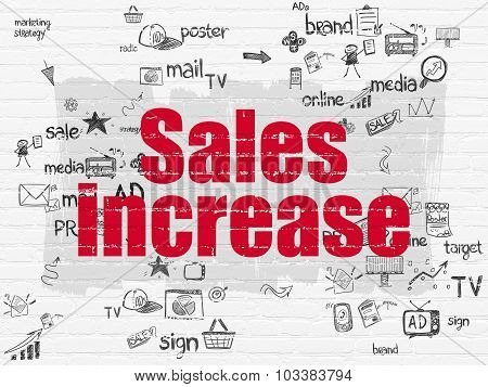 Advertising concept: Sales Increase on wall background