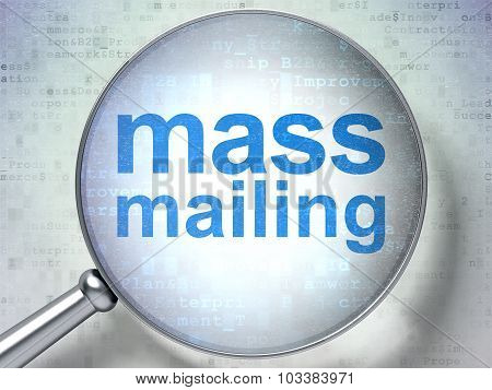 Advertising concept: Mass Mailing with optical glass