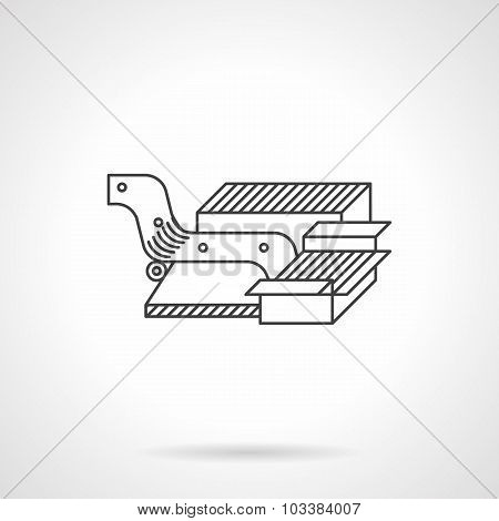 Packing conveyor line vector icon