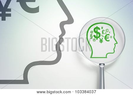 Advertising concept:  Head With Finance Symbol with optical glass on digital background