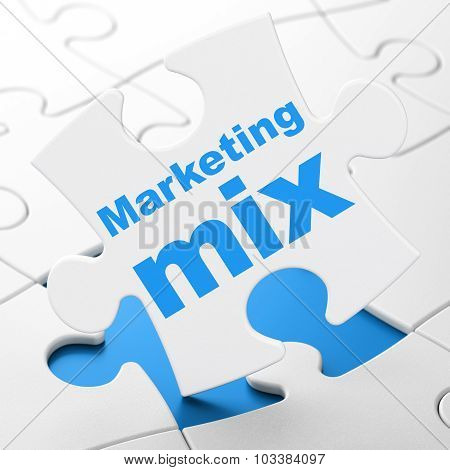 Marketing concept: Marketing Mix on puzzle background