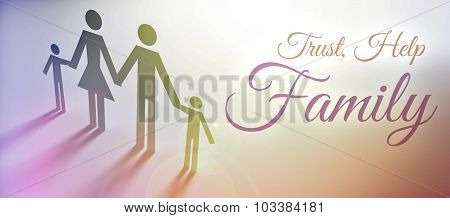 Trust And Help In Family Concept Creative Illustration