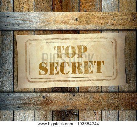 Stamp Top Secret Label Old Wooden Box