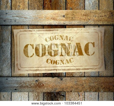 Stamp Cognac Label Old Wooden Box
