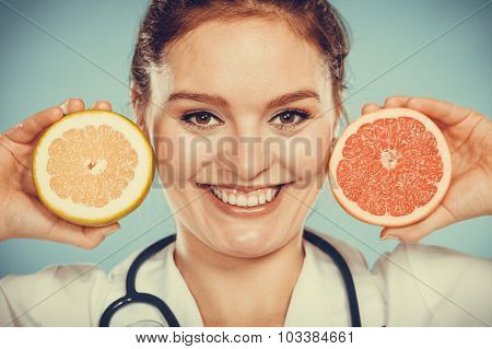 Happy Dietitian Nutritionist With Grapefruit.