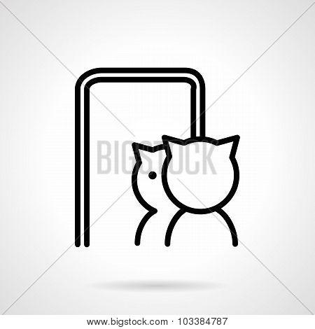 Cat in mirror simple line vector icon