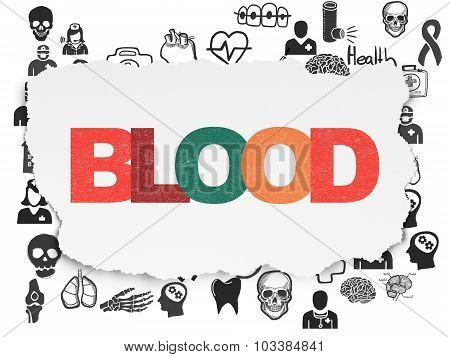 Medicine concept: Blood on Torn Paper background