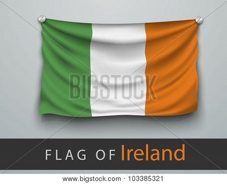 Flag Of Ireland Battered, Hung On The Wall