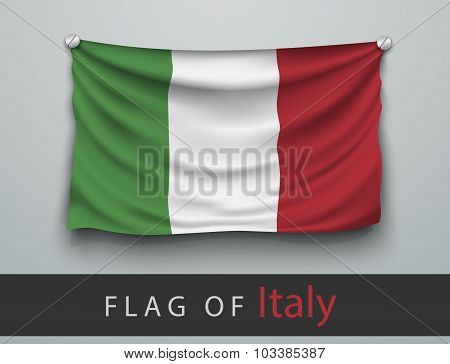 Flag Of Italy Battered, Hung On The Wall