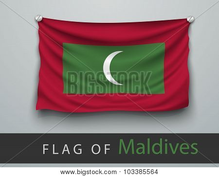 Flag Of Maldives Battered, Hung On The Wall