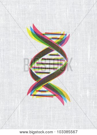 Science concept: DNA on fabric texture background