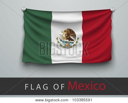 Flag Of Mexico Battered, Hung On The Wall