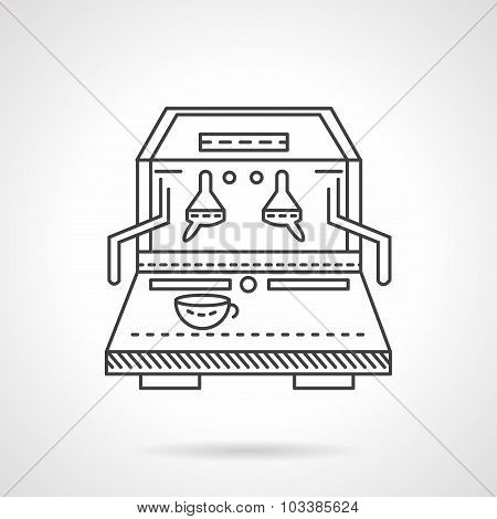 Flat line coffee machine vector icon
