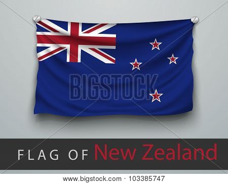 Flag Of New Zealand Battered, Hung On The Wall