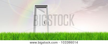 High resolution green, fresh and natural 3d conceptual grass over a blue sky background banner, a opened door at horizon with a rainbow