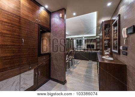 Apartment Interior In Brown Tones