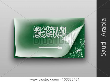 Flag Of Saudi Arabia With The Tattered Masking