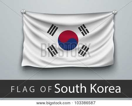 Flag Of South Korea Battered, Hung On The Wall