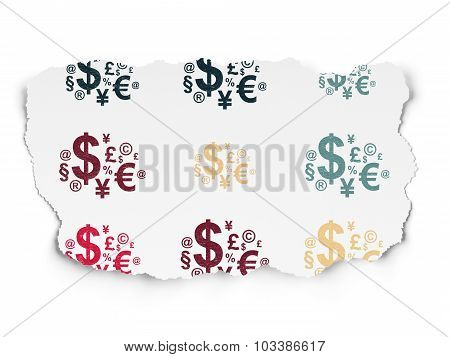 News concept: Finance Symbol icons on Torn Paper background