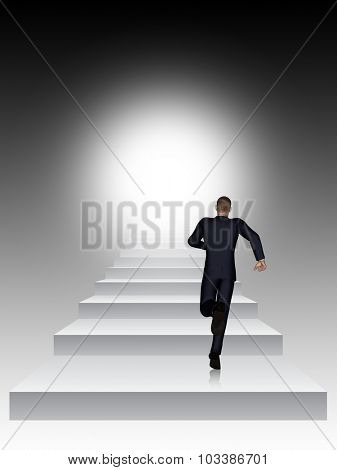 Concept conceptual 3D business man running or climbing stair on black  background with light