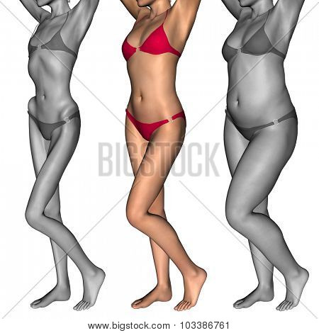 Concept or conceptual 3D woman or girl as fat, overweight vs fit healthy, skinny underweight anorexic female before and after diet