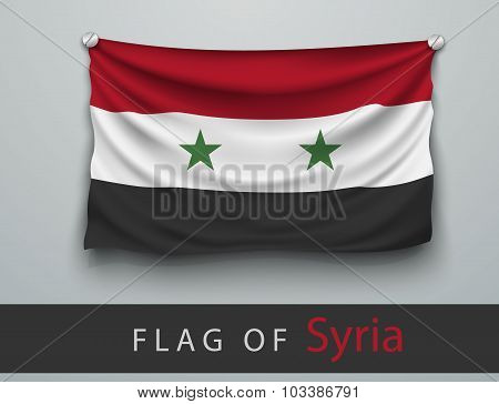 Flag Of Syria Battered, Hung On The Wall
