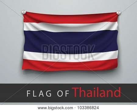 Flag Of Thailand Battered, Hung On The Wall