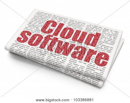 Cloud networking concept: Cloud Software on Newspaper background
