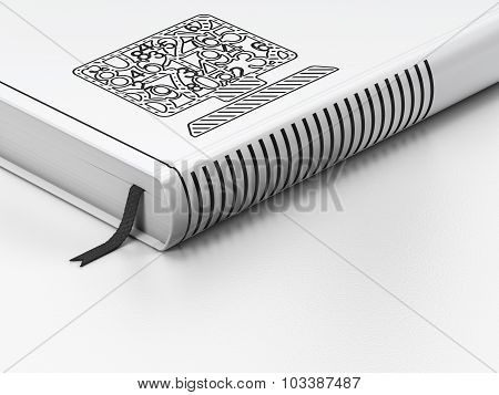 Education concept: closed book, Computer Pc on white background